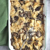 Cheesy Pasta Casserole with Wild Mushrooms