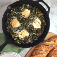 Fried Eggs with Greens & Mushrooms