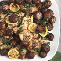 Sheet Pan Chicken & Mushrooms with Parsley Sauce