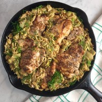 One-Skillet Chicken Thighs with Buttery Orzo