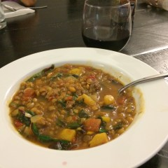 Lentil soup with sausage and acorn  squash