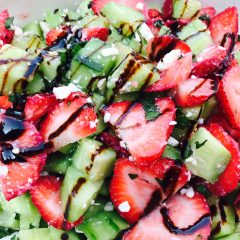 Strawberry Cucumber Salad with Balsamic Glaze