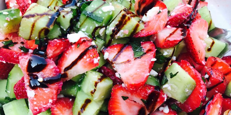 Strawberry Cucumber Salad with Balsamic Glaze