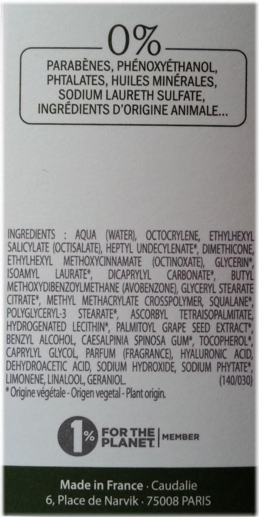 Caudalie Polyphenol spf20 fluid ingredients