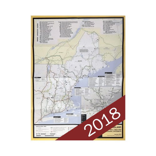 New England Rail Line Map, 2018 Edition – BSRA Bookstore