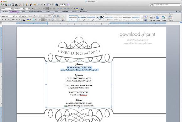 menu template microsoft word