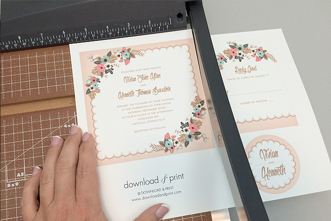 Trim Free Delicate Fl Printable Wedding Invitation Suite