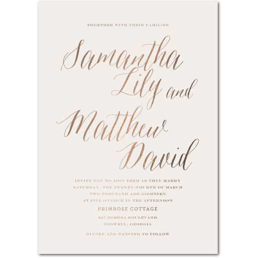 Modern Arrangement Signature White Wedding Invitations In Light Gray Or Rich Black Simplyput By