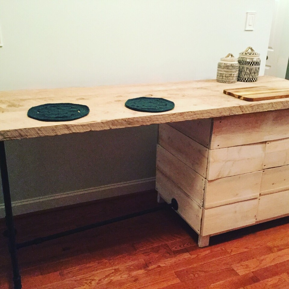 Kitchen breakfast bar, made with scaffolding boards.