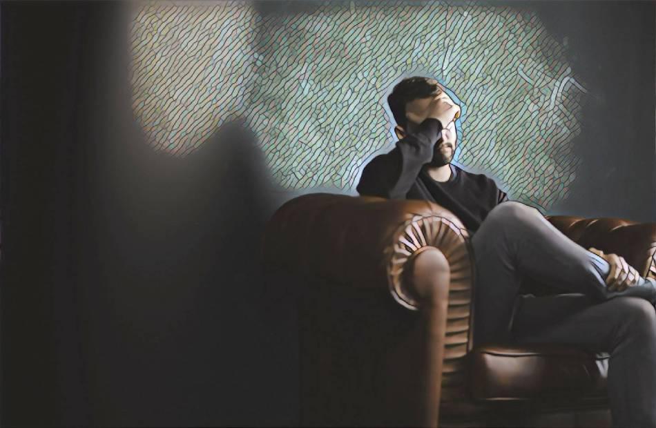 Man on sofa mosaic