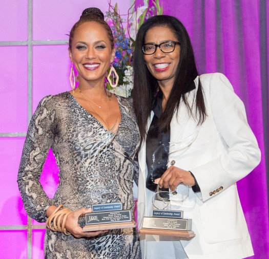 Actress Nicole Ari-Parker and Scandal's executive producer Judy Smith receive Legacy of Leadership Awards at Spelman College's Ninth Annual Leadership and Women of Color Conference. (Progressive Images)