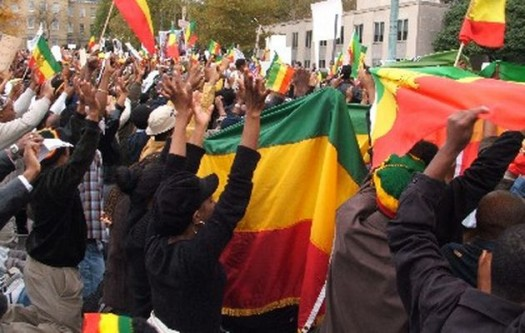 Ethiopians protest human rights abuses in Addis Ababa. (Google Images)