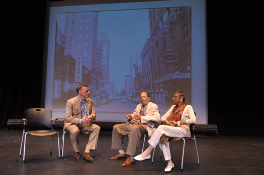 Dr. Lee and Dolores Shelton talk with Tom Key, executive director of Theatrical Outfit during the 50th Commemoration of breaking the color line in Atlanta's restaurants.  (Photo Credit: Georgia State University)