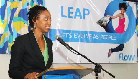 Gail Purcell, country manager of Columbus Communications Grenada Ltd, operating as FLOW discusses the Let's Evolve as People (LEAP) campaign. (Photo Credit: Google Images)