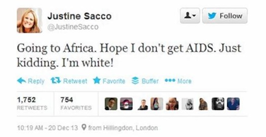 IAC public relations executive Justine Sacco was fired for her hateful tweet.  (Photo Credit: Twitter)