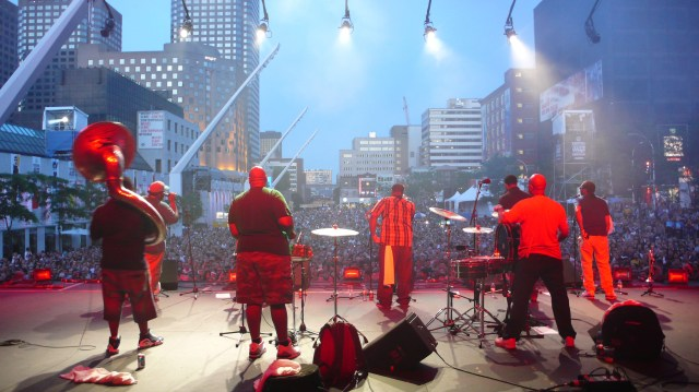 The Soul Rebels perform before a major crowd of fans. (Photo Credit: Rick Olivier)