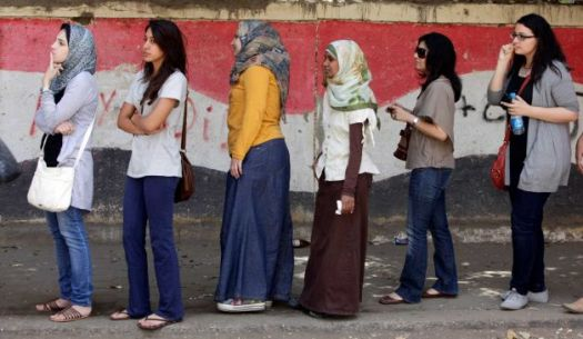 Egyptian women wait in line to vote in presidential election. (Photo credit: http://insideislam.wisc.edu)