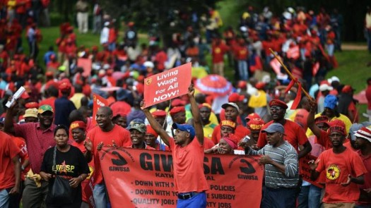 The National Union of Metalworkers of South Africa (NUMSA) members strike for better wages. (Google Images)