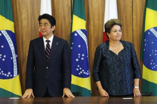Japan's Prime Minister Shinzo Abe meets with Brazil's President Dilma Rousseff. (Google Images)