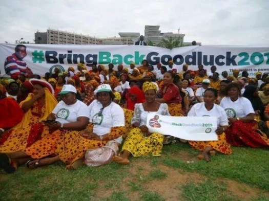 President Goodluck's supporters with hashtag on banner. (Photo Credit: Google Images)