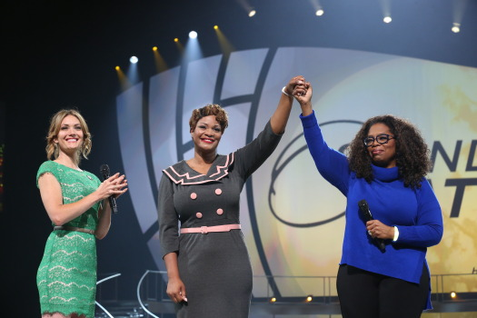 Oprah Winfrey and Amy Purdy (far left) with Jas Boothe (middle), founder of Final Salute, Inc, recipient of the Toyota