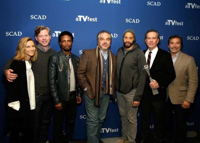 (l. to r.) Actress Caitlin Gerard, executive producer Michael McDonald, actors Elvis Nolasco, W. Earl Brown, executive producer John Ridley, actors Timothy Hutton and Benito Martinez from ABC's 'American Crime' appear at SCAD Atlanta's aTVfest (Photo Credit: Cindy Ord/Getty Images for SCAD Atlanta)