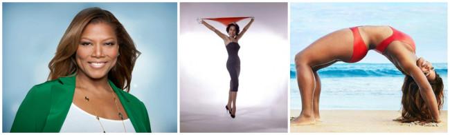 Famous black women that discuss yoga in their memoirs: Dana 'Queen Latifah' Owens, Diahann Carroll and Serena Williams. (Photos: Google Images)