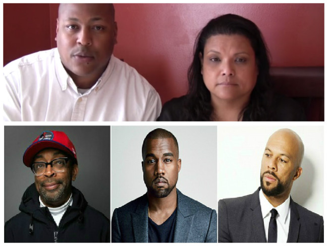 Award-winning filmmakers Clifford Ward and Christine Acham (top), Spike Lee, Kanye West and Common.  (Photos: Google Images)