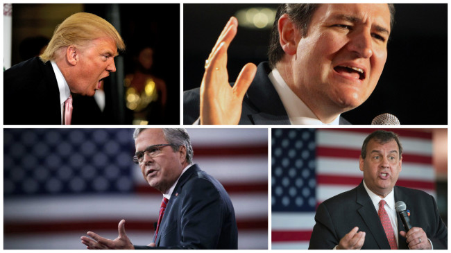 GOP conservative presidential candidates Donald Trump (top left), Ted Cruz (top right), Jeb Bush (bottom left) and Chris Christie (bottom right). (Photos: Google Images and Facebook)