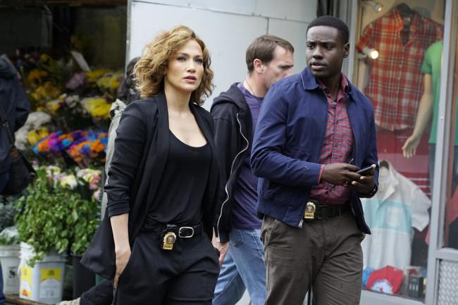 SHADES OF BLUE -- Episode 101 -- Pictured: (l-r) Jennifer Lopez as Detective Harlee Santos, Dayo Okeniyi as Michael Loman -- (Photo by: Peter Kramer/NBC)