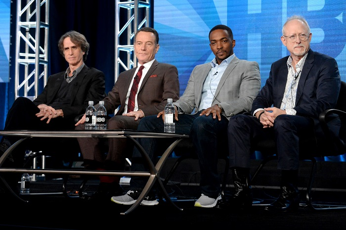 'All the Way's' director Jay Roach (l.), lead actors Bryan Cranston (LBJ), Anthony Mackie (MLK) and playwright/screenwriter Robert Schenkkan attend Television Critics Association (Photo Credit: HBO).