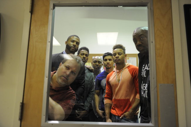 TV One's original film 'Bad Dad Rehab' features Robert Christopher Riley (standing second left), Wesley Jonathan (third left), Rick Gonzalez (third right), Robert Ri'chard (second right) and Malik Yoba (far right) as black and brown fathers working to become better parents. (Paul Abell/TV One)