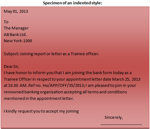 Format of a business letter indented style