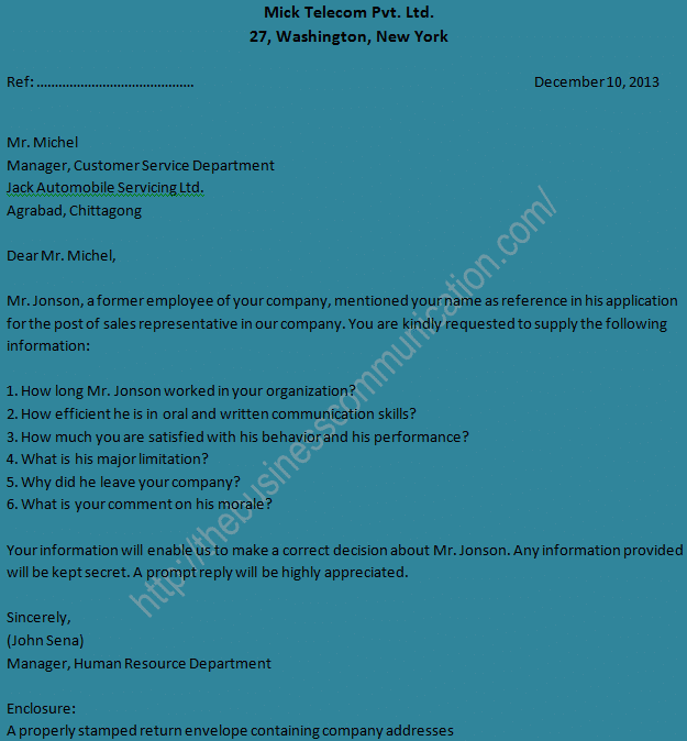 Sample of personal status inquiry letter