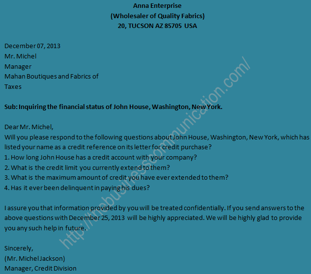 Specimen of business status inquiry letter-Sample of business status inquiry letter