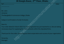 What is order confirmation letter? | Sample of order confirmation letter
