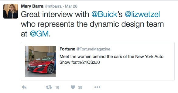 Mary Barra of GM tweet