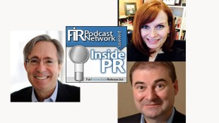 The hosts of the Inside PR Podcast. Clockwise from top right: Gini Dietrich, Joe Thornley, and Martin Waxman