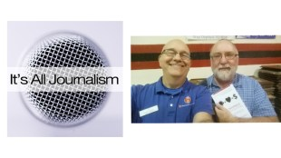 "Mike O'Connell of the ""It's All Journalism"" podcast with Steve Lubetkin at Podcast Mid-Atlantic in September 2015."