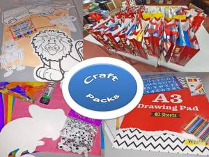 Colourful craft bags delivered weekly containing fun activities for boys and girls