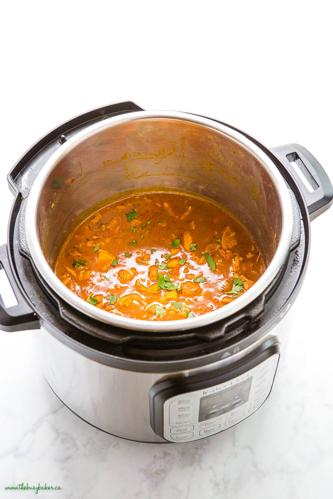 butter chicken in the Instant Pot with fresh herbs