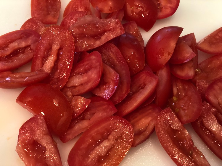 cut roma tomatoes with seeds removed