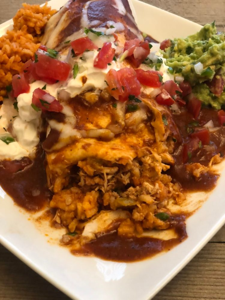 Crockpot Mexican Chicken | smothered chicken burrito