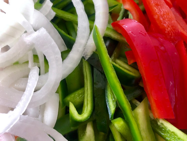 Foil packet fajitas- peppers and onion