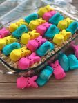 Easter marshmallow treats made with Peeps cereal