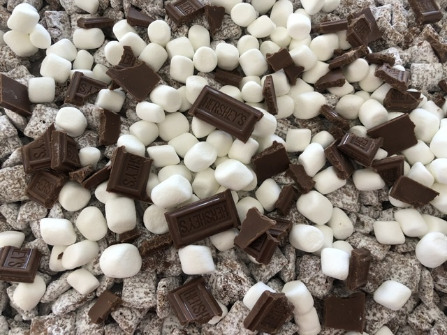Hershey's Chocolate Bars added to S'mores Muddy Buddies snack mix