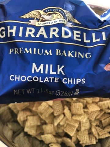 Ghriradelli milk chocolate chips for my S'mores Muddy Mix