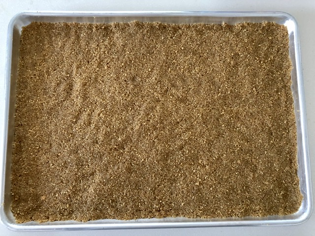Graham cracker crust in sheet pan