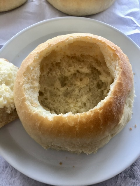 bread bowl ready for soup