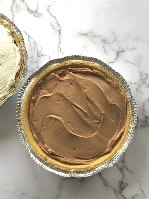 two easy chocolate cream pies, one with whipped cream on top